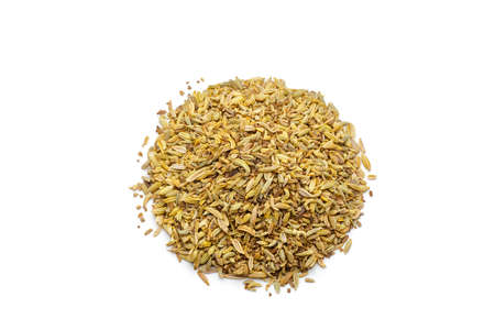 Pile of cumin seeds isolated on white background photo