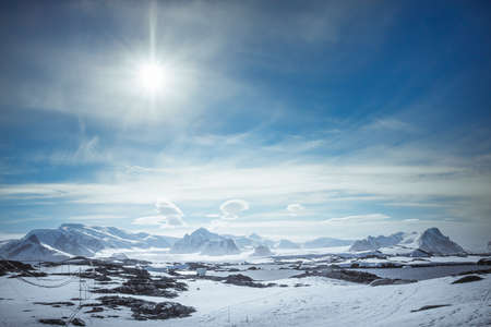 snowcapped: Beautiful snow-capped mountains against the blue sky in Antarctica