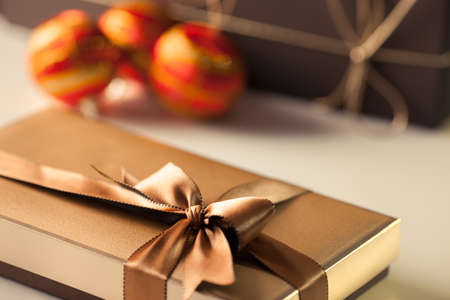 toy box: Christmas gift box with a nice decoration Stock Photo