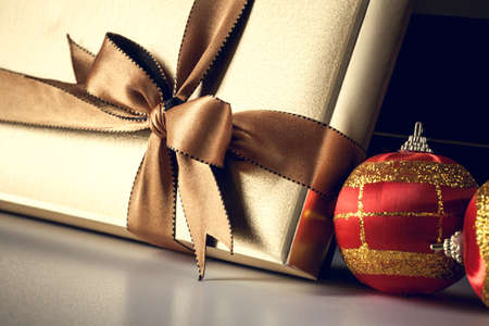 box tree: Christmas gift box with a nice decoration Stock Photo