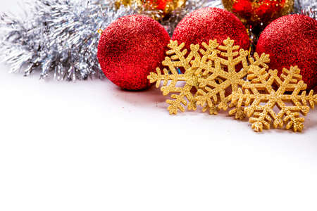 Christmas background with balls and nice decorations photo