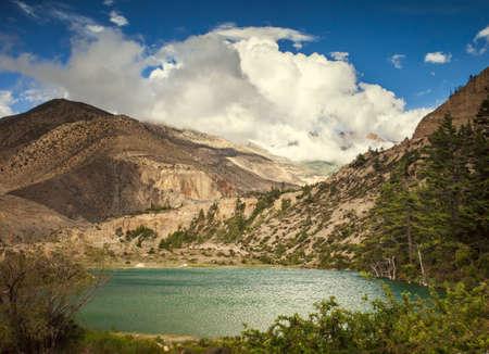 Beautiful Asian landscape, bright colors, pristine nature. Nepal photo