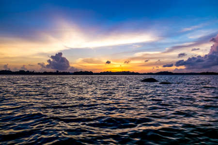 Ocean sunset. blue sky and clouds. Beauty natural
