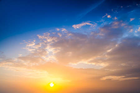 Sunset. blue sky and clouds. Beauty natural background Standard-Bild