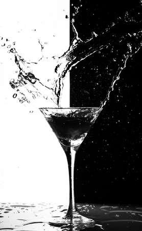 martini splash: martini splash on a black-white background