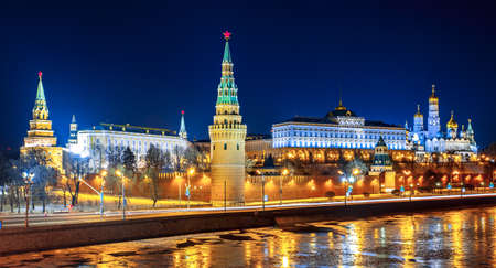 Moscow Kremlin in fires by cold winter night. Russia photo