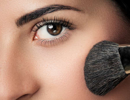 Makeup Applying  closeup. Cosmetic Powder Brush. Perfect Skin photo