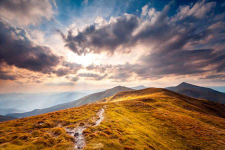 summer landscape. mountain path on the blue sky background. Panorama photo