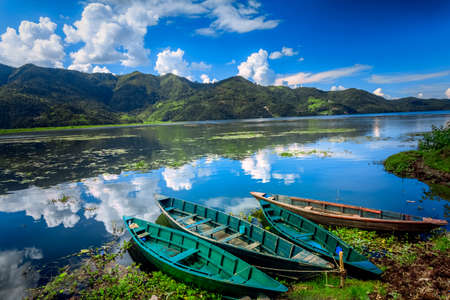 Boats on Pokhara Fewa Lake in Nepal