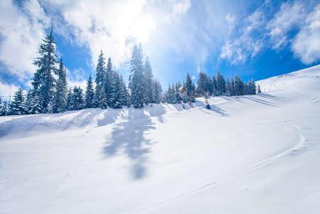 skiing: Slope on the skiing resort  in Carpathians. Ukraine