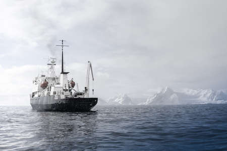 sea port: Big ship in Antarctic waters