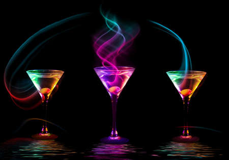 Large cocktail collection isolated on the black photo