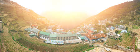 sherpa: The Himalayan settlement of Namche Bazaar, an important sherpa village along the Everest Base Camp Trek in Nepal.