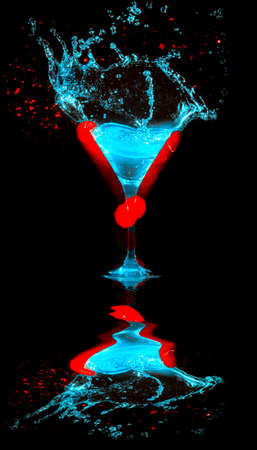 Fresh modern coctail on the black background photo