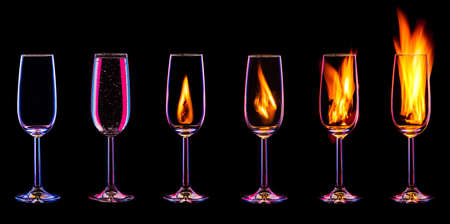 nightclub bar: Fire cocktail collection isolated on a black background