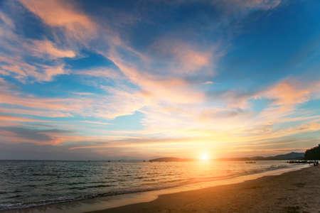 lonley: Tropical sunset on the lonley beach. Ao-Nang. Krabi. Thailand Stock Photo