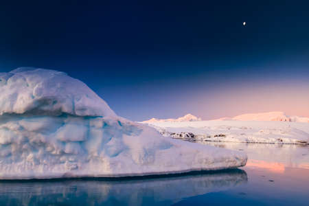 Antarctic glacier in the snow. Beautiful winter background. Vernadsky Research Base. photo
