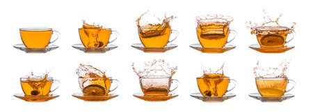 Collection of tea cups on white background