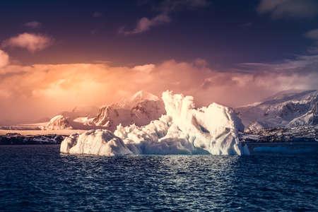 cavities: Antarctic Glacier with cavities. Beautiful winter background. Vernadsky Research Base.