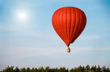 air: Red balloon in the blue sky wuth forest in the down