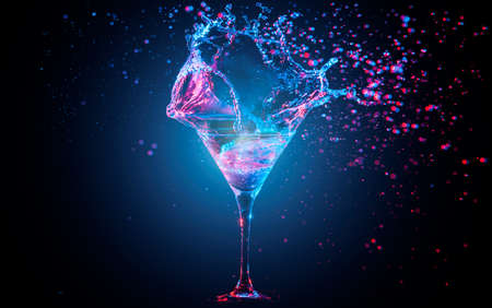 club: Blue cocktail with splashing water on the black background. Party club entertainment. Mixed light