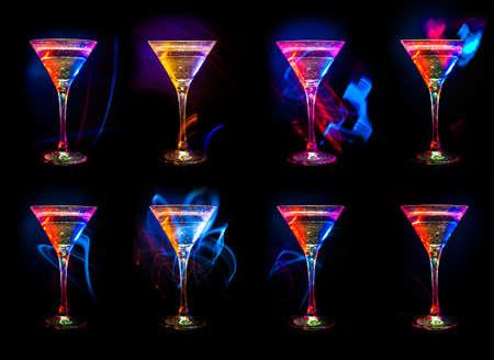 margarita cocktail: gran colección cóctel aislado en el negro Foto de archivo