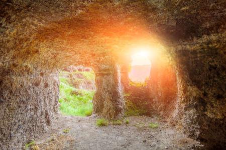 rustaveli: Vardzia caves monastery in Georgia under sunshine Stock Photo