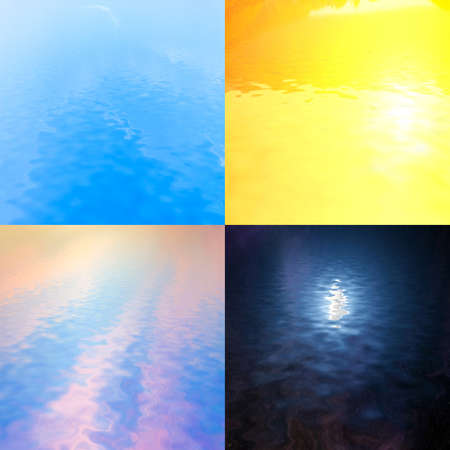 reflected: four colorful landscapes with sky reflected in water