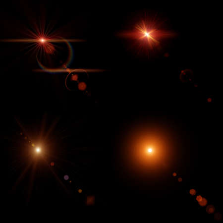 suns: Stars, collage with four suns with lens flares and Rays Stock Photo