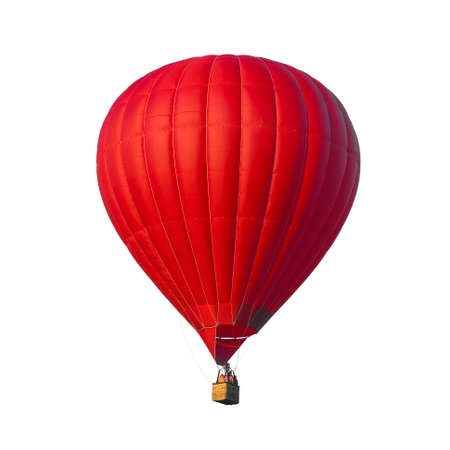 hot air balloon: Hot Air Red balloon isolated on white background Stock Photo