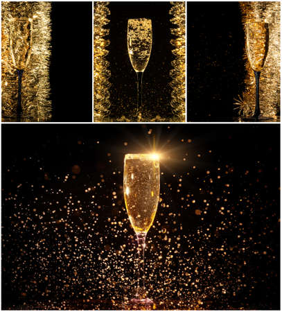 Glasses of champagne collage with splashes and bubbles on black background Stock Photo