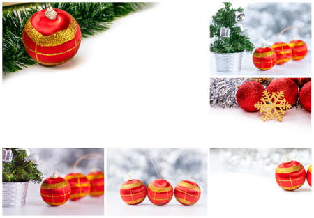 collage: Shiny New Year Collage with Christmas balls and Decorations Stock Photo