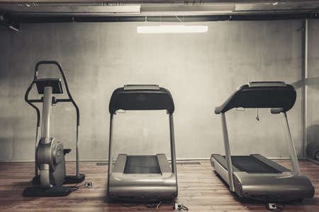 gym room: Treadmills set in gym interior