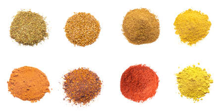 herbal background: Colorful spices variety collection isolated on white background Stock Photo