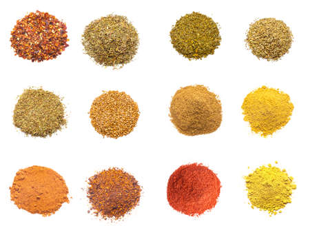 spices: Colorful spices variety collection isolated on white background Stock Photo
