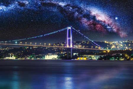 travel background: Bosphorus Bridge at night, Istanbul, Turkey