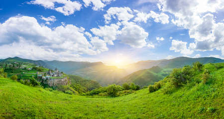 tatev: Ancient monastery in setting sun. Tatev. Armenia