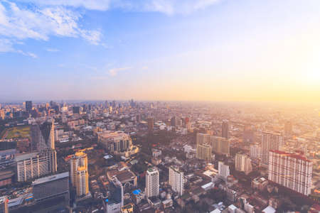 The stunning panoramic view of Bangkok, the capital and most populous city of the kingdom of Thailand. Amazing cityscape the modern skyscrapers, streets and public places. Aerial shot.
