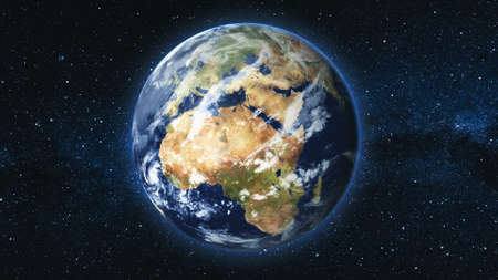 Realistic Earth Planet, rotating on its axis in space against the background of the Milky Way star sky. Astronomy and science concept. Continents and oceans. y