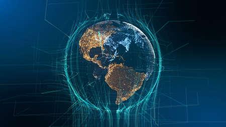 Concepto de tecnología de rotación de partículas de tierra visible. Fondo de negocio de ciberespacio futurista vista de holograma digital. Líneas abstractas Red Cuadrícula Exploración del espacio ultraterrestre Animación 3D