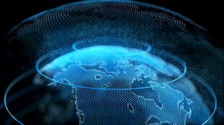 Superficie trasparente del globo digitale della terra di movimento. Rotazione del pianeta più piccolo oggetto all'interno della tecnologia scientifica futura della mappa del mondo. Concetto di affari Concetto di esplorazione dell'universo Animazione 3D