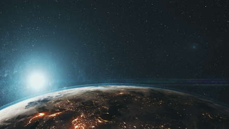Epic Rotate Earth Close Up Surface Star Background. Sun Beam Glow Celestial Outer Space Deep Universe Exploration Concept 3D Animation