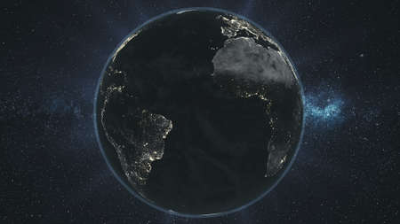 Earth Night Orbit Rotate Planet Star Background. Epic Space Globe Surface Constellation Cosmos Navigation Travel Universe Exploration Concept 3D Animation