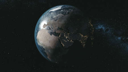 Epic Spin Planet Earth Galaxy Night Satellite View. Deep Open Cosmos Navigation Milky Way Background Travel Universe Exploration Concept 3D Animation