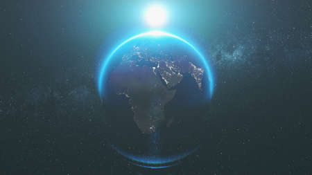 Earth Rotation Orbit Flare Sunlight Illumination. Milky Way Observation Fast Motion Planet Deep Outer Space Navigation Universe Exploration 3D Animation