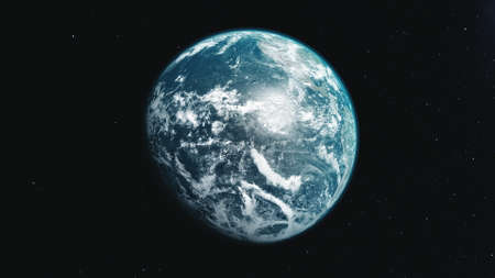motion graph half lit blue white planet Earth rotating about axis approaches and moves away in black space. 3d animation. Science and technology concept.