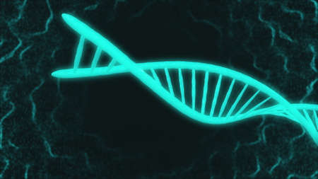 motion graphic of DNA large light blue model part moving in space and turning around in dark flashing background with thin white winding threads. 3d animation. Medicine biology science concept. 版權商用圖片