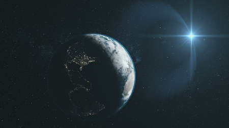 Earth Close Up Orbit Starry Deep Space Overview. Universe Constellation Satellite View. Dark Outer Galaxy Celestial Navigation Planet Zoom in 3D Animation