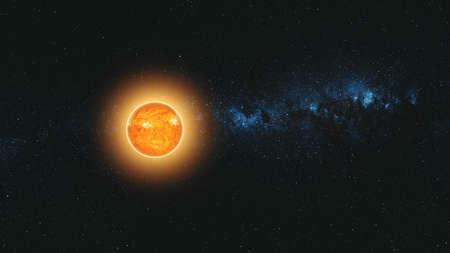 Sole illuminato Terra Movimento veloce Riduci la vista Zoom indietro. Flare Sunlight Planet Starry Galaxy Navigazione nello spazio profondo. Animazione 3D del concetto di esplorazione dell'universo Archivio Fotografico