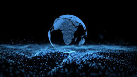 3d animation of blue isolated planet Earth globe model rotating over small flashing information units in dark background. Motion graph. Digitized world and blue ocean strategy concept. Big data.